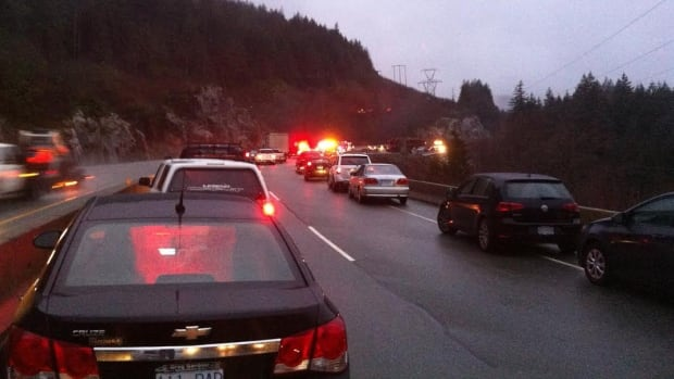 Driver's report traffic on the Sea-To-Sky Highway southbound south of Squamish has stopped.