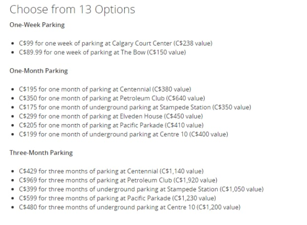 parking packages
