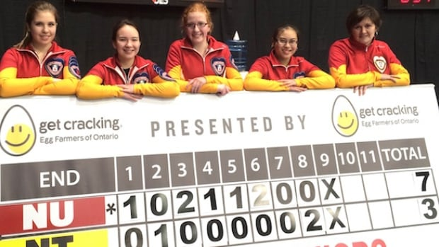 Team Nunavut and their winning scoreboard. From left, Sadie Pinksen, Christianne West, Kaitlin MacDonald, Melicia Elizaga and coach Donalda Mattie.