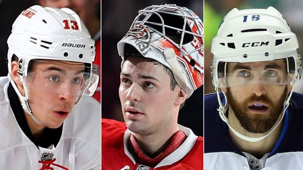 From left, the Flames' Johnny Gaudreau, Canadiens' Carey Price and Jets' Andrew Ladd probably will be key figures should their teams climb back in the NHL playoff race over the next two-plus months. None of Canada's seven clubs boast a winning record after five of them carried a winning mark into last year's all-star break.