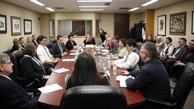 Leaders from the Inuvialuit region, Nunavut, Nunavik and Nunatsiavut met with Prime Minister Justin Trudeau at Inuit Tapiriit Kanatami's offices in Ottawa on Tuesday.