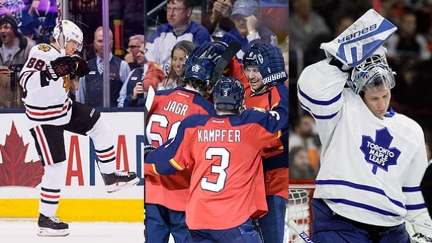 Patrick Kane, left, has been a spark for the Chicago Blackhawks, the Florida Panthers have taken the league by storm, while all seven Canadian teams are currently outside of the playoff picture.