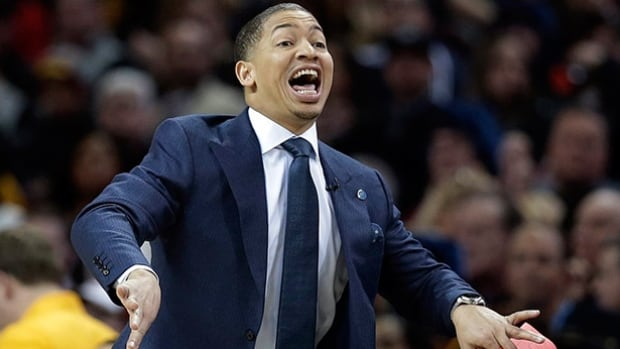 Cleveland Cavaliers head coach Tyronn Lue yells to players in the first half against the Chicago Bulls on Jan. 23 in Cleveland.