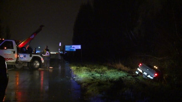 Truck rollover in ditch on Highway 99 in Richmond