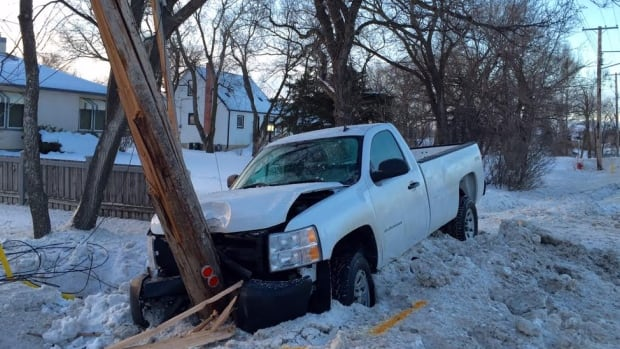 No one was injured when this pickup truck crashed into a hydro pole Thursday morning in East St. Paul.