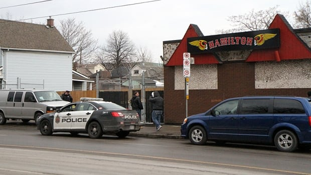 Hamilton Police were on scene at the Hells Angels clubhouse on Gage Avenue North Thursday morning, helping the bailiff's office with an eviction.