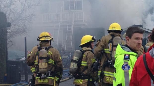 An early morning fire broke out in the 7500 block of Burgess Street in Burnaby.