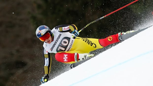 Canadian Erik Guay is one of the skiers looking to capitalize on the World Cup leader's absence at this weekend's race in Garmisch-Partenkirchen, Germany.