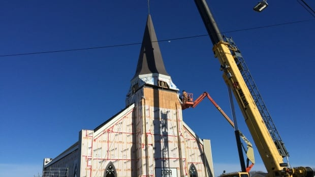 Good weather helped work crews install a steeple on St. Mary's Polish Church in Whitney Pier.