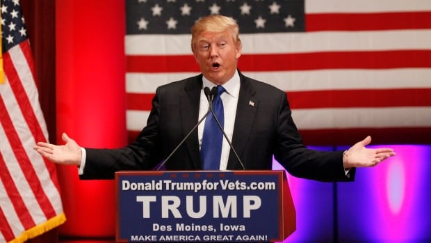 U.S. Republican presidential candidate Donald Trump speaks at a rally for veterans in Des Moines, Iowa, on Thursday instead of attending a Republican debate organized by Fox News.
