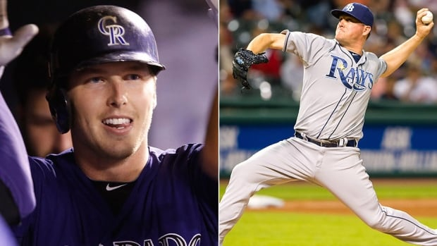 The Rays on Thursday acquired outfielder Corey Dickerson, left, from the Rockies for relief pitcher Jake McGee, right. The 26-year-old Dickerson hit .304 last year in 65 games with 10 homers and 31 runs batted in. McGee started last season on the disabled list after undergoing off-season elbow surgery. He went 1-2 with a 2.41 ERA and six saves in 39 appearances in 2015.