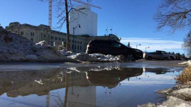 Big puddles have been appearing around Regina this week thanks to temperatures above zero.