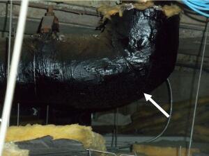 Ceiling pipe, 875 Heron Rd.