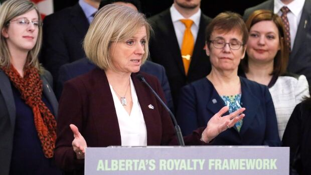 Premier Rachel Notley announces Alberta's new royalty framework in Calgary on Friday: 'Times have changed and we need to work in the best interests of the current economic challenges that we're faced with.'