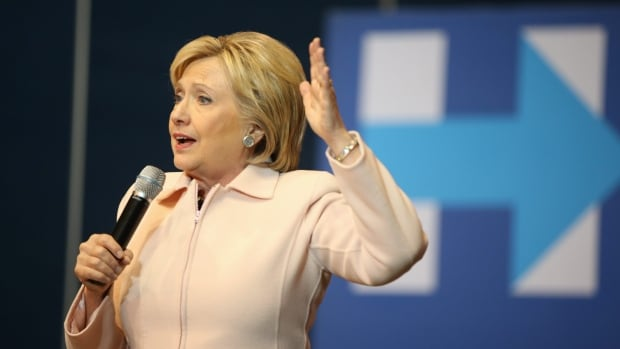 Democratic presidential candidate Hillary Clinton speaks at a rally in Dubuque, Iowa, on Friday.