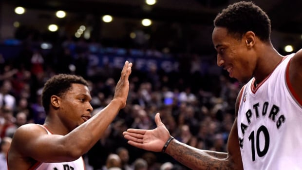 Kyle Lowry, left, and DeMar DeRozan have averaged 22.3 points and 24 points per game respectively during the Toronto Raptors' current winning streak.