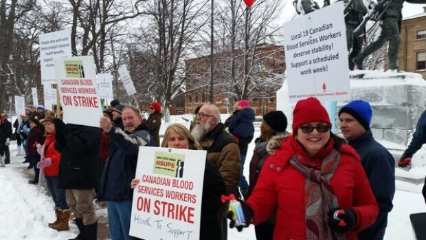 Striking Canadian Blood Services workers held a support rally at Province House in January.