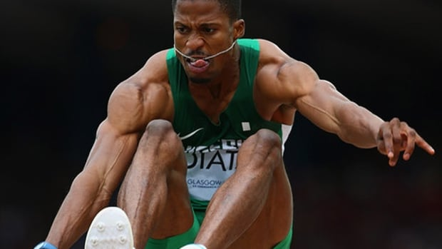 Long jumper Samson Idiata is one of four Nigerian gold medallists from last year's All Africa Games barred for doping. Fellow long jumper Chinazom Amadi, weightlifter Elisabeth Onua and wrestler Patience Opuene were the others that failed drug tests at the games. Eight Nigerian athletes have been suspended overall, seven of whom for four years. Onua received an eight-year ban after multiple violations.