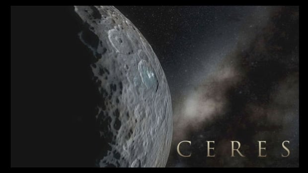 This simulated view of Dwarf planet Ceres was created with images from NASA's Dawn spacecraft.