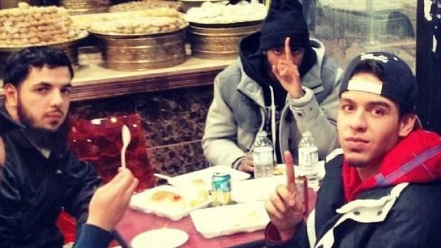 From left to right, terror suspect Awso Peshdary,  ISIS fighter Khadar Khalib and shooting victim Ayyub Arab, taken in 2014 at a Middle Eastern bakery in Ottawa.
