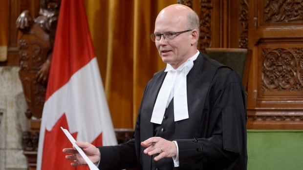 Speaker of the House Geoff Regan rises, as he often does, during question period in the House of Commons on Monday.