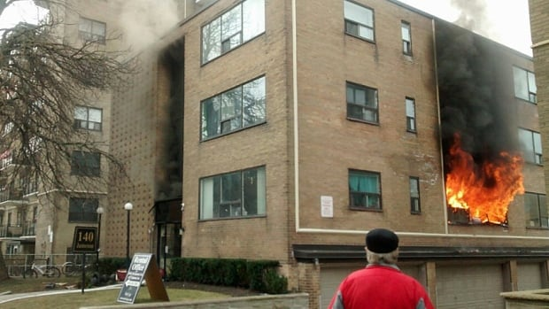 Fire sent flames through the windows of this apartment building located near Springhurst and Jameson Avenues in Parkdale this morning.