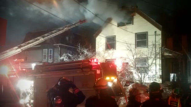 Firefighters spent several hours putting out a fire at a house that had been converted into apartments. It's not clear what caused the fire.