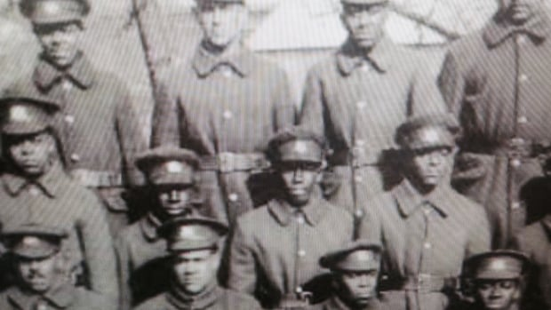 This restored photo of some of the members of the No. 2 Construction Battalion is at the Black Loyalist Heritage Centre.