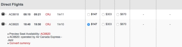 Screen capture of flight ticket price
