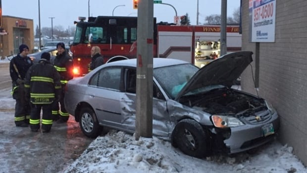 One of two vehicles involved in a crash at Winnipeg's Keewatin Street and Logan Avenue on Wednesday.