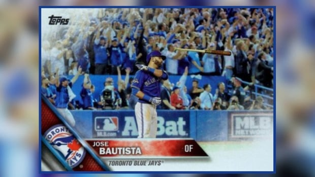 Topps has included Jose Bautista's infamous bat flip in its new collection of baseball cards.