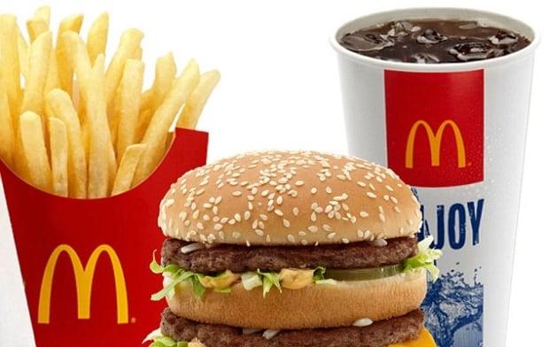 McDonalds burgers, fries, coke