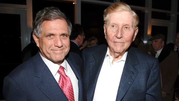 Leslie Moonves, left, and Sumner Redstone are seen at an event in New York City in a file photo.