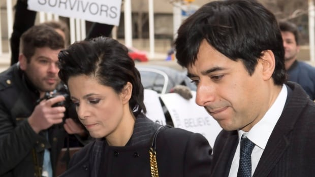 Jian Ghomeshi arrives at a Toronto courthouse with his lawyer Marie Henein (left) on Thursday, Feb. 4, 2016. Henein's tactics have been the subject of debate during the trial.