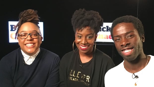 Syrus Marcus Ware, left, Sandy Hudson and Desmond Cole take part in a panel discussion on what black activism means to them.