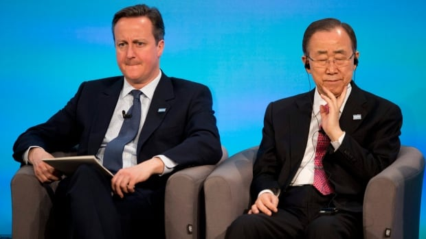 UN Secretary General Ban Ki-moon, right, and British Prime Minister David Cameron listen to another speaker during the co-hosts press conference near the end of the Supporting Syria and the Region conference at the Queen Elizabeth II Conference Centre in London on Thursday.