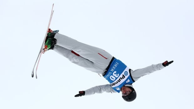 Canadian Olivier Rochon of Canada jumps to second place in the FIS Freestyle Skiing Aerial World Cup.