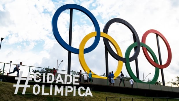 The Olympic Rings loom over Rio de Janeiro's Madureira Park, one of the three sites where the public will be able to watch the Games for free on a giant TV screen when the they begin in six months.