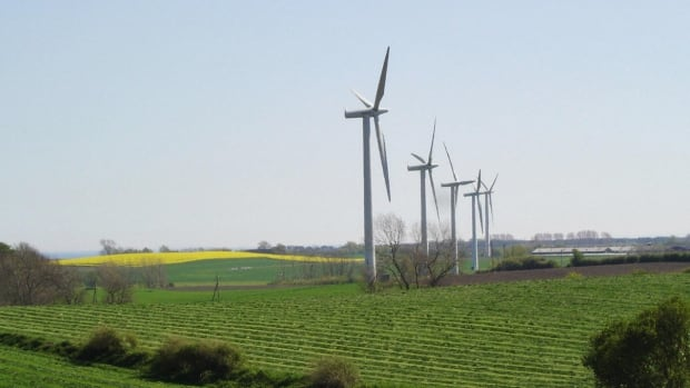 Wind-powered turbines in Samso, Denmark