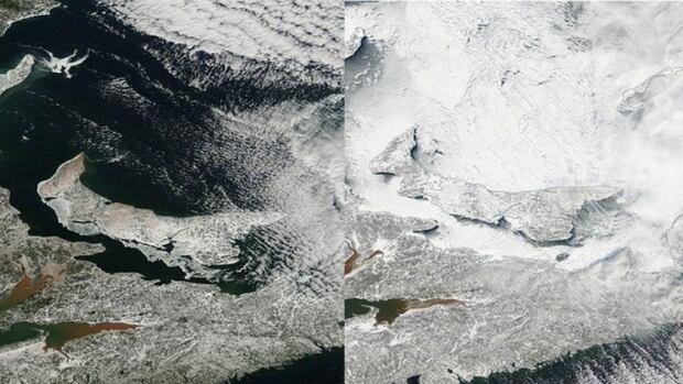 P.E.I.'s snow cover today versus Feb. 6, 2015.