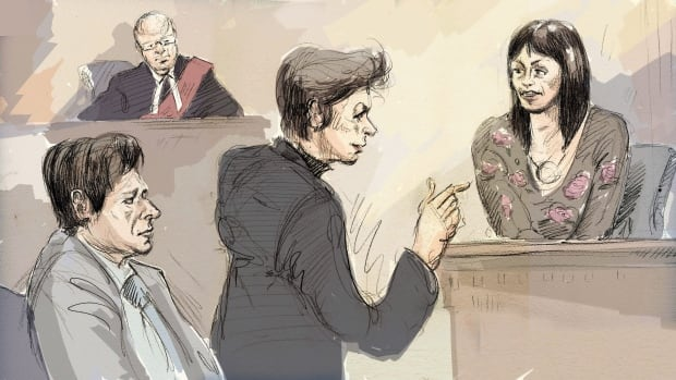 In this courtroom sketch, witness Lucy DeCoutere, right, is cross-examined by defence lawyer Marie Henein as Jian Ghomeshi and Justice William Horkins listen in court.
