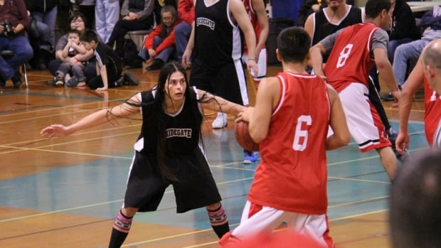 Skidegate Saints' point guard Desi Collinson plans to press his anti-LNG message off the court at the All Native Basketball Tournament.