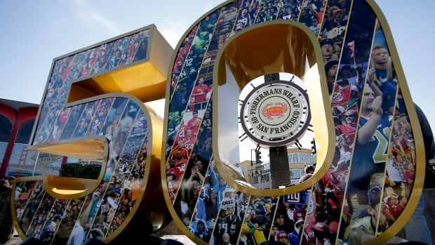A sign for fisherman's warf is framed by a Super Bowl 50 sign Thursday, Feb. 4, 2016, in San Francisco.