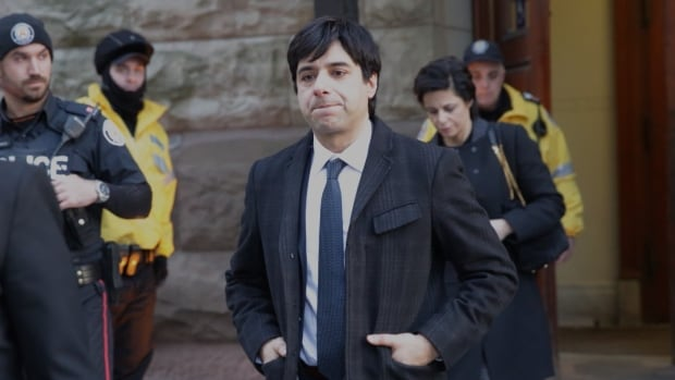 Jian Ghomeshi leaves a Toronto courthouse after the fourth day of his sexual assault trial wrapped up.