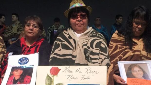 Matilda Wilson, middle, joined other grieving families during a mourning ceremony for missing and murdered loved ones in Prince George.