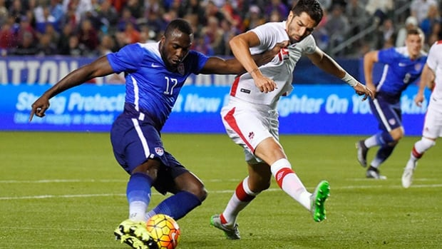 United States' Jozy Altidore, left, and Canada's Steven Vitoria vie for the ball during the first half of an exhibition soccer match Friday, Feb. 5, 2016, in Carson, Calif.