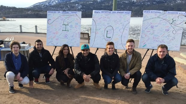 Laurence Watt (second from right) and Stella Mozin (third from right) with other student organizers of the Canvas Project. Behind them are the finished canvasses filled out in downtown Kelowna.