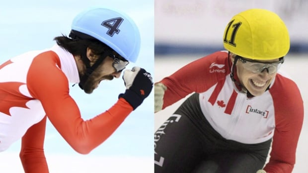 Canadian speed skaters Charles Hamelin, left, and Marianne St-Gelais picked up a pair of short track speed skating gold medals at a World Cup event in Dresden, Germany this weekend.