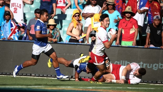 Nathan Hirayama right, had a pair of tries to lead Canada over Samoa in one of their three victories in the World Rugby Sevens Series Bowl consolation final against Samoa. Canada finished in ninth place.