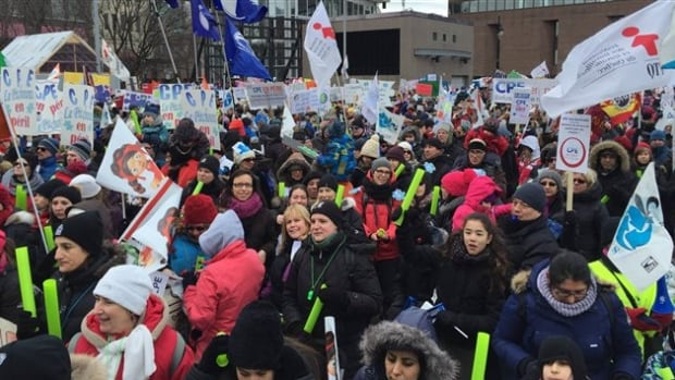 Thousands of daycare workers, parents and citizens gathered in 18 different cities, including Montreal, Quebec City and Gatineau.
